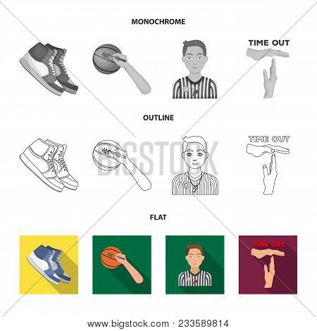 Basketball And Attributes Flat, Outline, Monochrome Icons In Set Collection For Design.basketball Pl