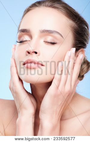 Beauty Portrait Of Woman With Closed Eyes
