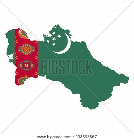 Territory And Flag Of Turkmenistan. White Background. Vector Illustration