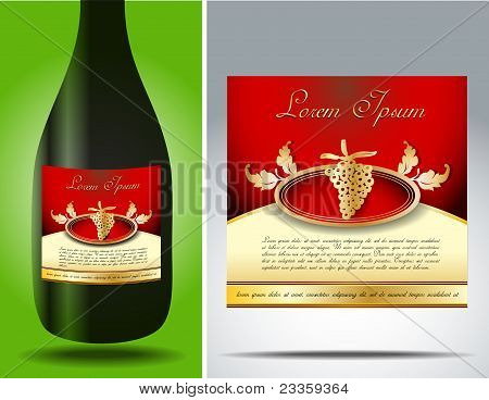 Grape-vine Bottle Label