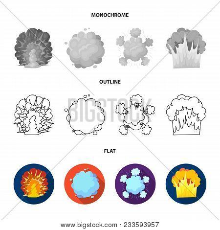 Flame, Sparks, Hydrogen Fragments, Atomic Or Gas Explosion. Explosions Set Collection Icons In Flat,