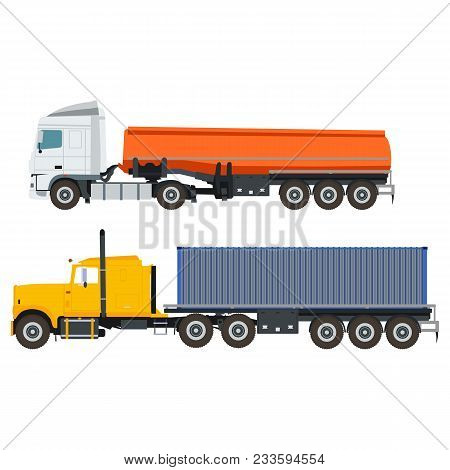 Flat Truck With Container And Tank In Vector Format