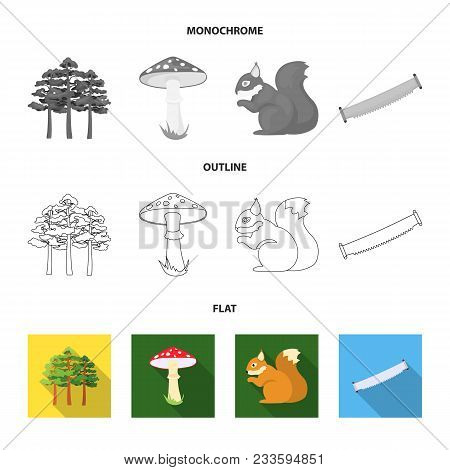 Mountain, Cloud, Tree, Branch, Leaf.forest Set Collection Icons In Flat, Outline, Monochrome Style V