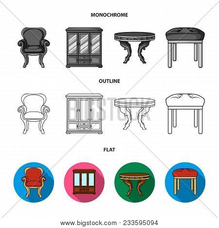 Interior, Design, Bed, Bedroom .furniture And Home Interiorset Collection Icons In Flat, Outline, Mo
