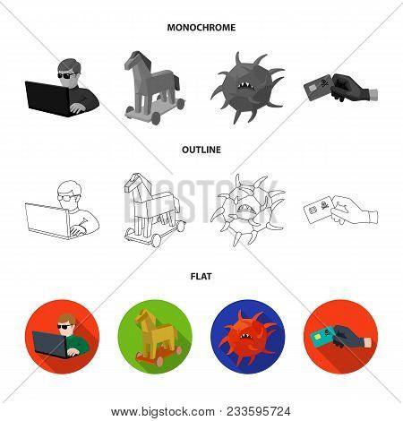 System, Internet, Connection, Code .hackers And Hacking Set Collection Icons In Flat, Outline, Monoc