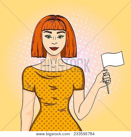 Pop art Red haired girl holding a white flag. The woman gave up her position Comic style imitation vector poster