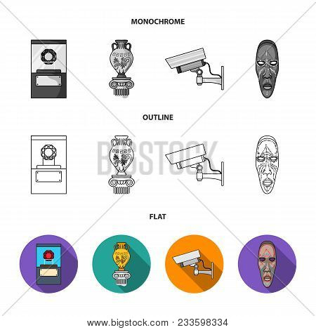 Picture, Sarcophagus Of The Pharaoh, Walkie-talkie, Crown. Museum Set Collection Icons In Flat, Outl