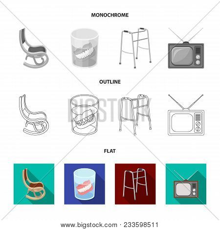 Lottery, Hearing Aid, Tonometer, Glasses.old Age Set Collection Icons In Flat, Outline, Monochrome S