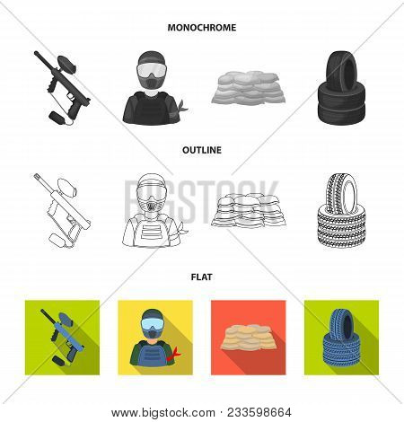 Wooden Barricade, Protective Mask And Other Accessories. Paintball Single Icon In Flat, Outline, Mon