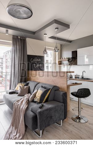 Cozy Flat With Gray Couch