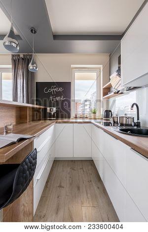 Kitchen With Wooden Worktop