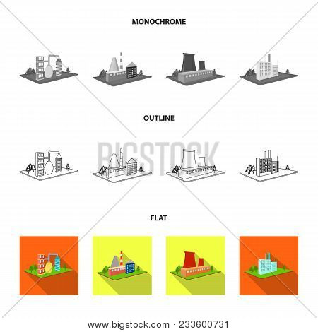 Processing Factory, Metallurgical Plant. Factory And Industry Set Collection Icons In Flat, Outline,