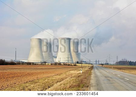 The Road Next To The Cooling Towers Of A Nuclear Power Plant Dukovany.