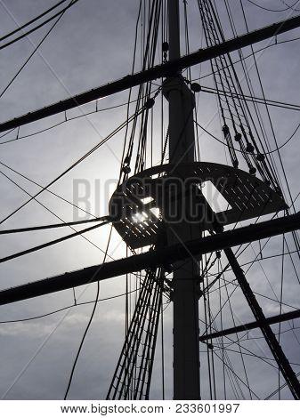 Sailing Ship Rigging Backlit By Morning Sun.