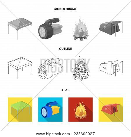 Awning, Fire And Other Tourist Equipment.tent Set Collection Icons In Flat, Outline, Monochrome Styl