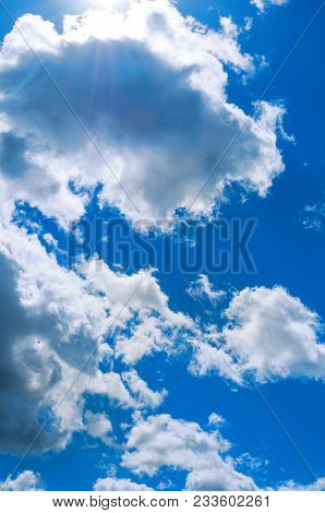 Sky Landscape Of Blue Cloudy Sky. Beautiful Blue Sky, Sunny Sky Landscape.blue Sky Background With W