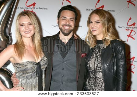 LOS ANGELES - MAR 26:  Lauren Woodlawn, David Lago, Kelly Kruger at the The Young and The Restless Celebrate 45th Anniversary at CBS Television City on March 26, 2018 in Los Angeles, CA
