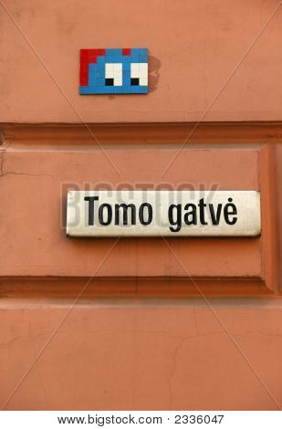 Cunning Eyes Above The Street Nameboard