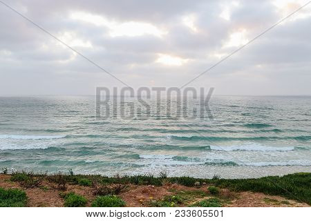 A Startling Landscape Of A Calm Sea, Blue Sky And Green Grass