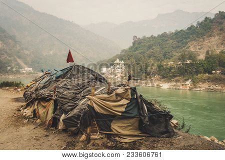 Beggar's Hut By The River Ganges Rishikesh