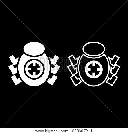 Bug Beetle In Target Sight Icon Set White Color Vector Illustration Flat Style Simple Image