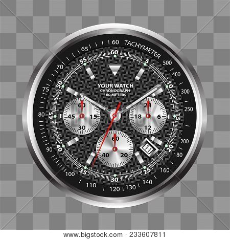 Realistic Watch Clock Chronograph Stainless Steel Black Dial Design Luxury On Checkered Background V
