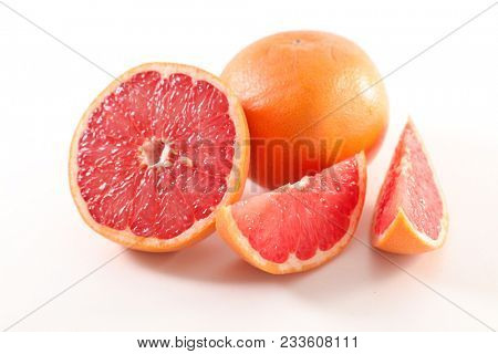 red grapefruit on white background