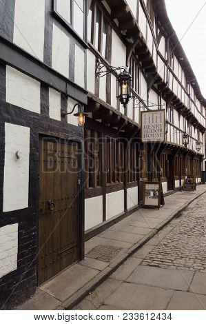Shrewsbury United Kingdom - March 21 2018: One Of The Most Historic Timber Buildings In Shrewsbury B