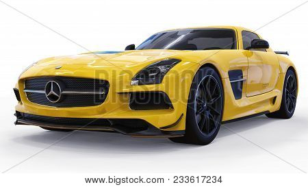Mercedes-benz Sls Yellow. Three-dimensional Raster Illustration. Isolated Car On White Background. 3
