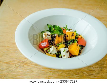 Salad With Tomatoes, Feta Cheese And Pumpkin