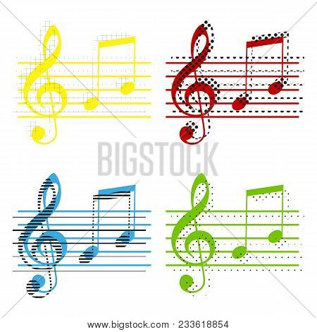Music Violin Clef Sign. G-clef And Notes G, H. Vector. Yellow, Red, Blue, Green Icons With Their Bla