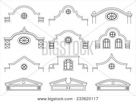 A Set Of Silhouettes Of Classic Vintage Facades. Templates For Colorings. Vector Graphics. Architect