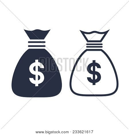 Money Bag With Currency Symbol, Investment Icon And Banking Sign. Banking Cash. Money Saving And Con