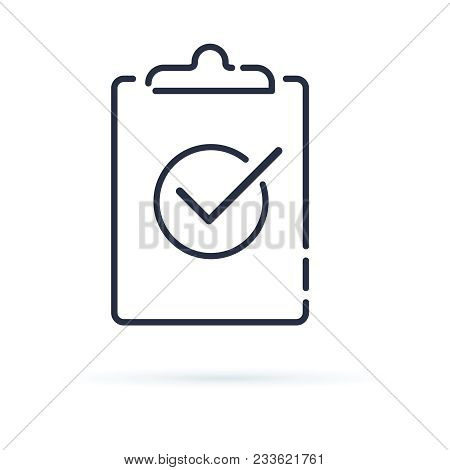 Check Test Line Icon, Outline Vector Sign. Linear Style Pictogram Isolated On White. Clipboard With
