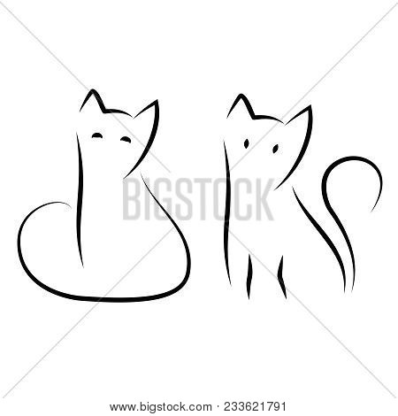 Simple And Minimal Cat Ink Drawing. Two Sitting Cats In Traditional Japanese Zen Art Style. Cute Vec