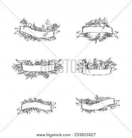 Floral Ribbon Banner. Hand Drawn Vector Vintage Floral Banners. Sketch Ink Illustration. Banner With