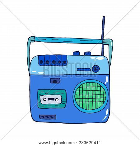 Retro Recorder Icon For Audio Cassettes Isolated On White Background. Illustration In Vintage Style.