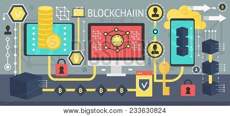 Bitcoin, Cryptocurrency And Blockchain Network Technology Concept. Different Devices Connected In On