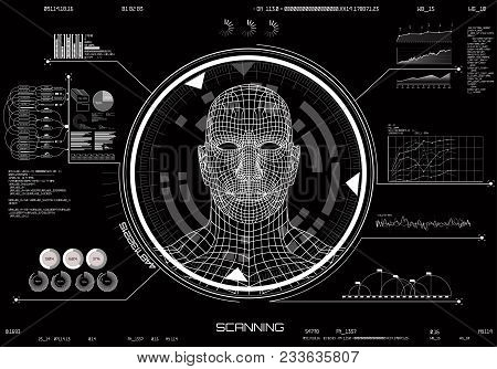 Hud Ui. Concept Of Face Scanning. Machine Learning Systems Technology, Accurate Facial Recognition B