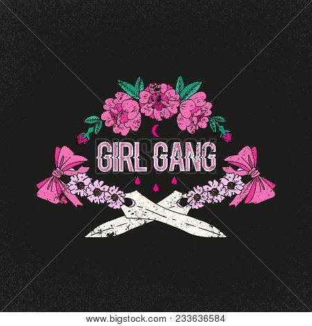 Girl gang slogan. Flower with sword. Rock and roll girl patch. Typography graphic print, fashion drawing for t-shirts. Vector stickers, print, patches vintage poster