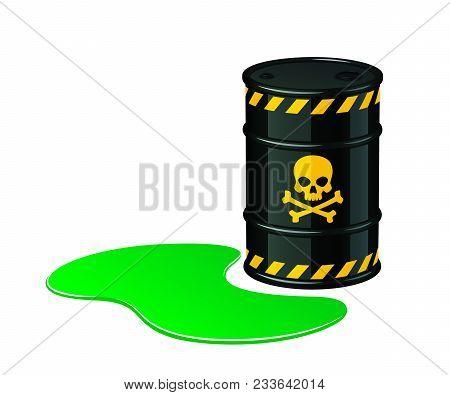 Barrel Of Toxic Waste. Toxic Waste Vector Illustration Isolated On White Background