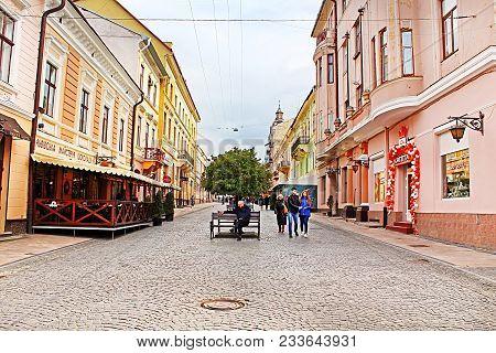 Chernivtsi, Ukraine - April 22, 2017: The Pedestrian Street Named Olga Kobylianska. Architecture In