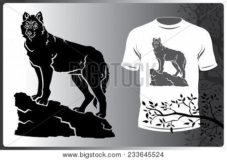 Vector Isolated Silhouette Animal Wolf Logo Image. Print On T-shirt Or A Wolf Logo