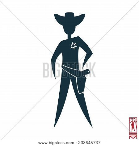 Man Person Basic Body Position Stick Figure Icon Silhouette Vector Sign,sheriff, Star, Hat, Cowboy,