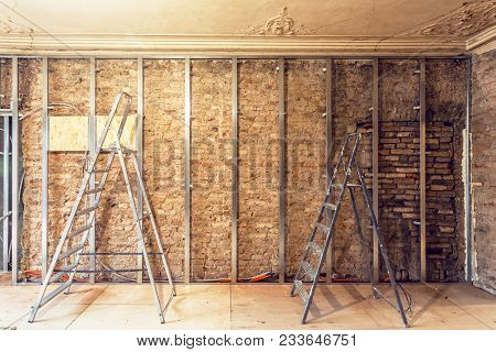 Working Process Of Installing Metal Frames For Plasterboard - Drywall - For Making Gypsum Walls With