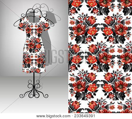 Female Dress On Hanger. Seamless Pattern. Color Bouquet Of Wildflowers (lilia, Bellflower, Barberry