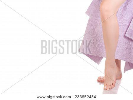 Female Feet Heel Lilac Bath Towel Beauty Spa On White Background Isolation