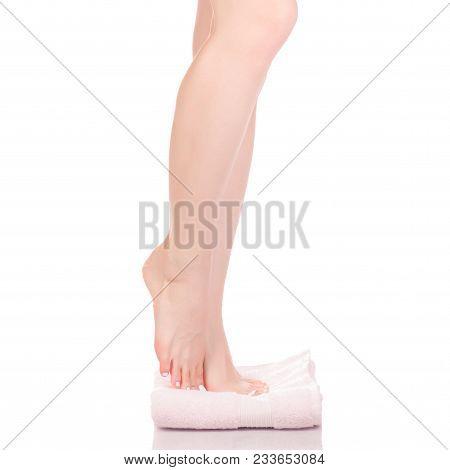 Female Feet Heel Pink White Bath Towel Beauty Spa On White Background Isolation