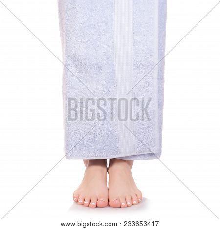 Female Feet Heel Blue Bath Towel Beauty Spa On White Background Isolation