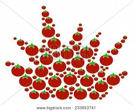 Boom Explosion Mosaic Of Tomato In Variable Sizes. Vector Tomatoes Elements Are United Into Boom Exp